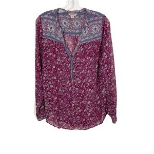 Lucky Brand Floral Half Button Up Sheer Blouse